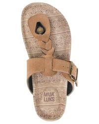 Muk Luks | Brown ® Marsha Braided T-strap Flatform Sandals | Lyst