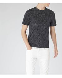 Reiss Black Wallace Jacquard Weave T-shirt for men