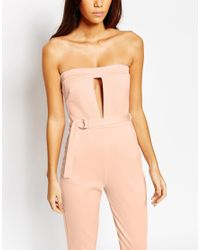 Oh My Love - Natural Plunge Catsuit With Metal Bar Detail - Pink - Lyst
