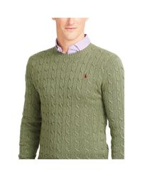 Polo Ralph Lauren   Green Cable-knit Tussah Silk Sweater for Men   Lyst