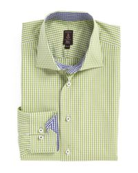 Robert Talbott Green Trim Fit Check Dress Shirt for men