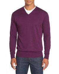 Peter Millar | Purple Silk Blend V-neck Sweater for Men | Lyst