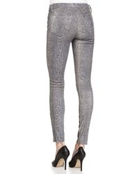 J Brand - Gray Vesper Snake-print Leather Jeans - Lyst