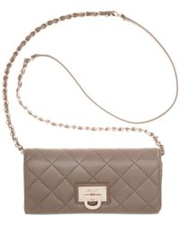 DKNY - Natural Gansevoort Quilted Nappa Leather Wallet Clutch With Chain - Lyst