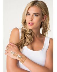 Bebe Metallic Chain & Jewel Hand Jewelry