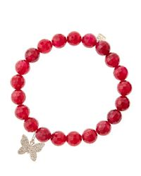 Sydney Evan | Red Agate Beaded Bracelet With 14K Gold/Diamond Small Butterfly Charm (Made To Order) | Lyst