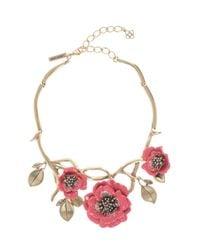 Oscar de la Renta | Pink Painted Flower Necklace | Lyst