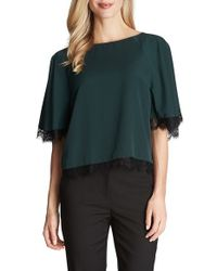 Cece by Cynthia Steffe - Green Lace Trim Flutter Sleeve Blouse - Lyst