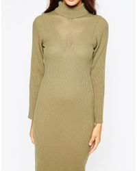 Daisy Street - Natural Ribbed Roll Neck Midi Dress - Lyst
