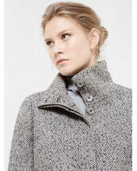 Violeta by Mango Gray Herringbone Wool Coat
