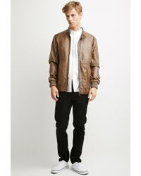 Forever 21 | Brown Faux Leather Snap-collar Jacket You've Been Added To The Waitlist for Men | Lyst