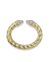 David Yurman - Metallic Waverly Cuff Bracelet With Diamonds In Gold - Lyst