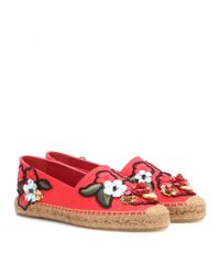 Dolce & Gabbana Red Embellished Cotton Espadrilles