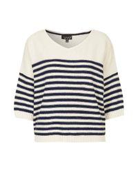 TOPSHOP - White Knitted Breton Stripe Sweater - Lyst