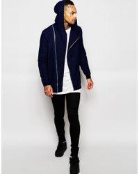 ASOS | Blue Longline Hoodie In Indigo Wash With Asymmetric Zip for Men | Lyst