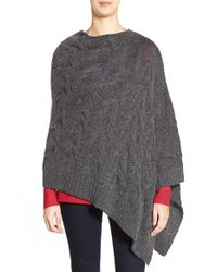 Eileen Fisher | Gray Funnel Neck Cable Knit Poncho | Lyst