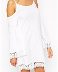ASOS | White Petite Cold Shoulder Wizard Sleeve Dress With Lace Trim | Lyst
