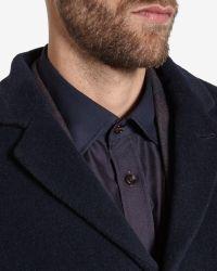 Ted Baker Blue Deluxe Detachable Shearling Collar Coat for men