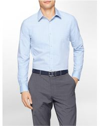 Calvin Klein - Blue White Label Classic Fit Textured Square Dot Chambray Liquid Cotton Shirt for Men - Lyst
