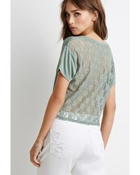 Forever 21 | Green Lacy Knotted Tee | Lyst
