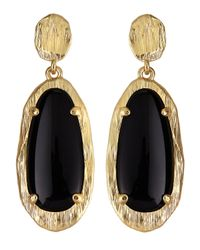 Panacea Black Elongated Oval Crystal Earrings