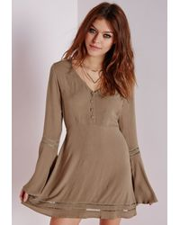 Missguided Natural Cheesecloth Cut-out Ladder Detail Skater Dress Khaki