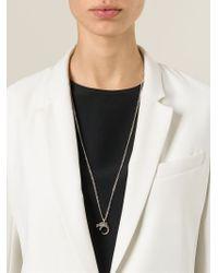 Saint Laurent Metallic Dragon Pendant Necklace