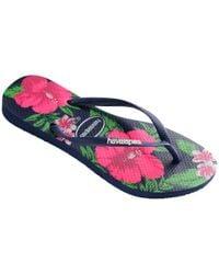 Havaianas | Blue Slim Floral Flip Flops | Lyst