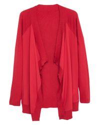 Violeta by Mango Red Contrast Panel Cardigan