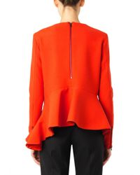 Preen By Thornton Bregazzi Red Satine Peplum Wool Top