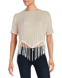 Lord & Taylor | Natural Asymmetrical Fringed Top | Lyst