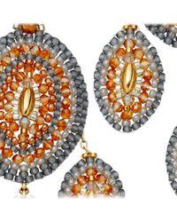 Miguel Ases Orange Topaz Quartz Chandelier Earrings