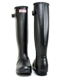 HUNTER - Black Rubber Rain Boot - Lyst
