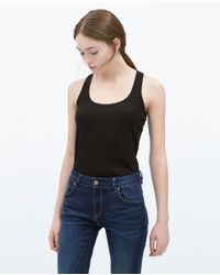 Zara   Black Basic T-shirt   Lyst