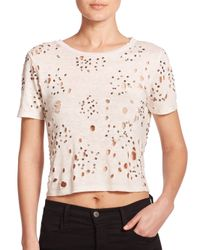 Alice + Olivia Natural Distressed & Beaded Linen Cropped Top