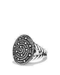 David Yurman Metallic Cable Coil Ring With Diamonds