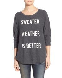 Signorelli Gray 'sweater Weather' Screenprint Dolman Sleeve Sweatshirt