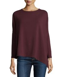 Neiman Marcus | Purple French Terry Asymmetric Top | Lyst