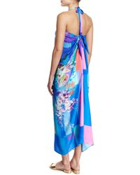 Gottex - Multicolor In Bloom Floral-print Halter Pareo Coverup - Lyst