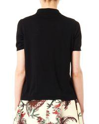 Rochas Black Wool-Knit Polo Shirt