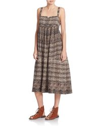 Free People | Brown Printed Midi Dress | Lyst