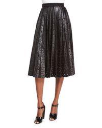 Marc Jacobs Gray Grommet-Detailed Leather Midi Skirt