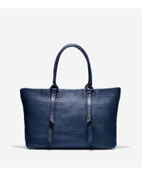 Cole Haan - Blue Bethany Weave Large Tote - Lyst