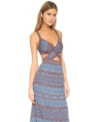 M Missoni | Blue Zigzag Cutout Dress | Lyst
