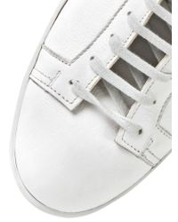 Santoni White Bonded Leather High Top Sneakers for men