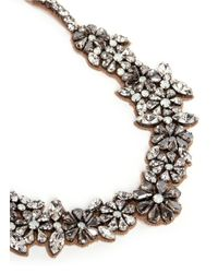Valentino - White Floral Crystal Satin Necklace - Lyst