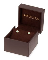 Ippolita Metallic 18k Lollipop Mini Turquoise & Diamond Stud Earrings