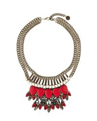 Karen Millen | Red Metallic Blue Crochet Necklace | Lyst