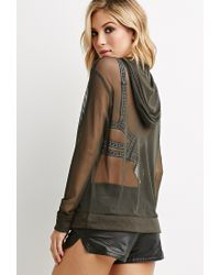 Forever 21 - Green Netted Mesh Hooded Pullover - Lyst