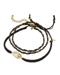 Tai | Black Crystal Station & Braided Cord Set Of 2 Bracelets | Lyst